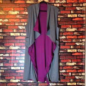 Sweaters - 2/$25🌺 Reversible One Size Purple & Grey Kimono
